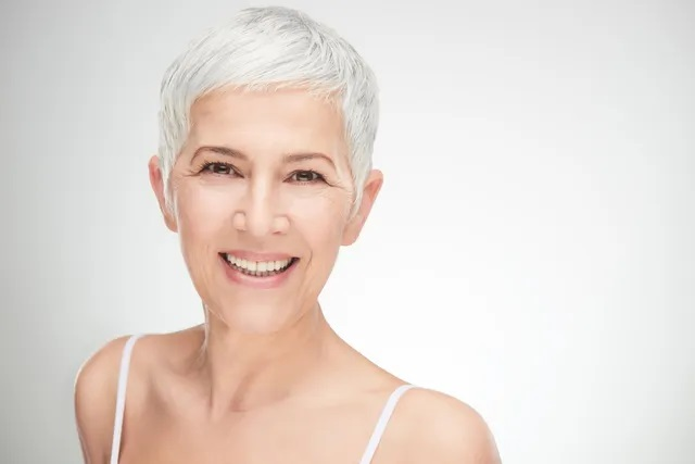 Senior lady with beautiful skin smiling