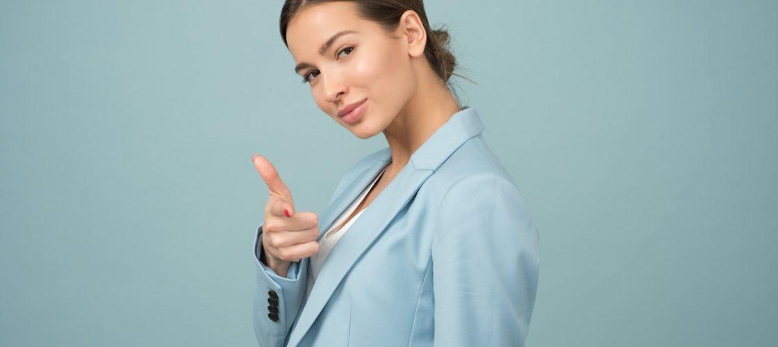 Rejuvenated woman wearing blue jacket